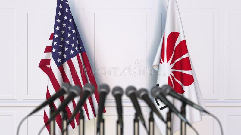 Drapeaux des Etats-Unis et du Huawei à la conférence de presse Rendu conceptuel de l'?ditorial 3D photos libres de droits