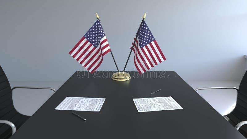 Drapeaux des Etats-Unis et des papiers sur la table Négociations et signature d'un accord Rendu 3d conceptuel illustration libre de droits