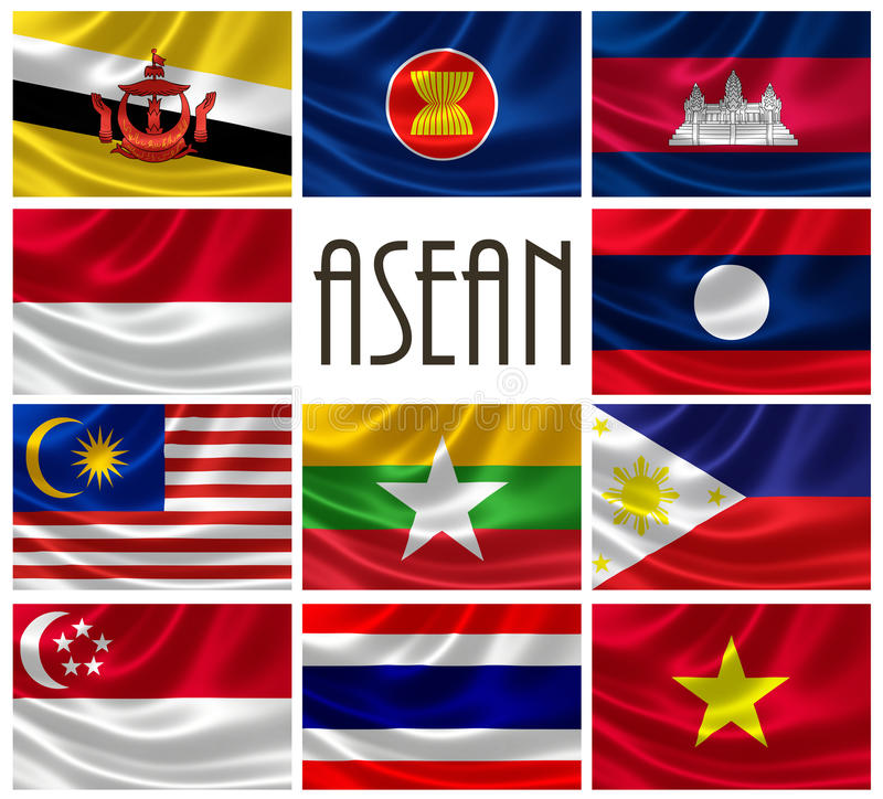 Drapeaux des nations d'ASEAN illustration de vecteur