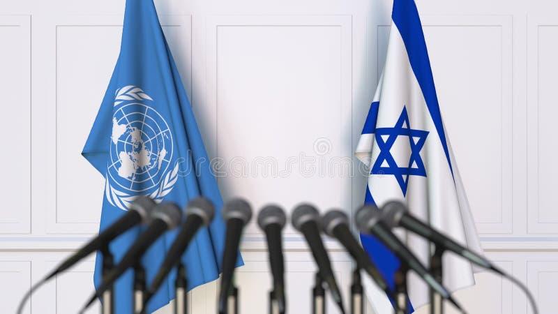 Drapeaux des Nations Unies et de l'Israël à la réunion ou à la conférence internationale Rendu 3D éditorial illustration de vecteur