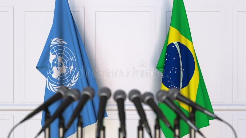Drapeaux des Nations Unies et du Brésil à la réunion ou à la conférence internationale Rendu 3D éditorial illustration stock