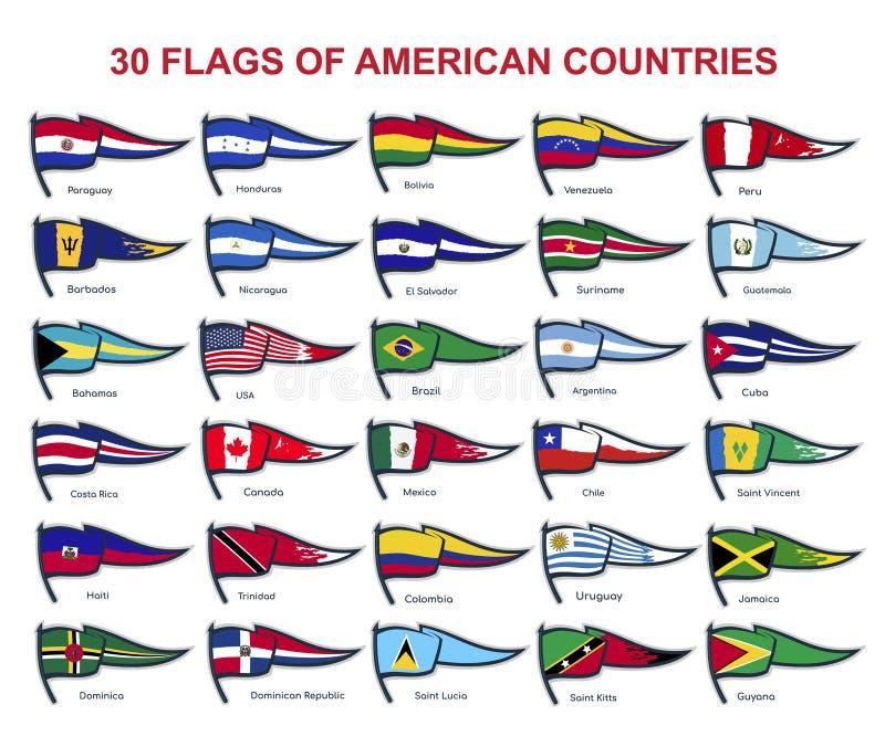 30 drapeaux des pays américains illustration libre de droits