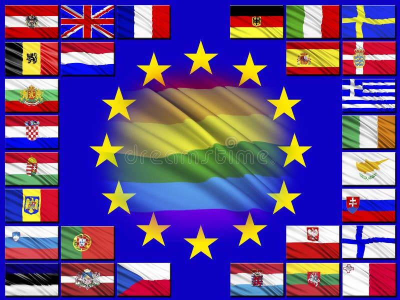 Drapeaux des pays appartenant à l'Union européenne illustration stock