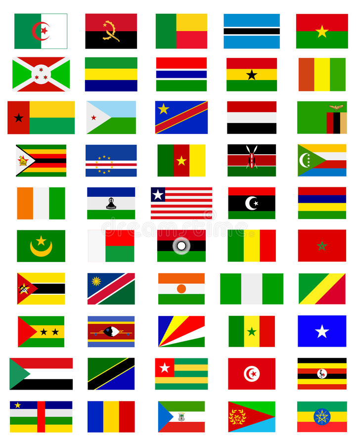 Drapeaux des pays de l'Afrique illustration libre de droits