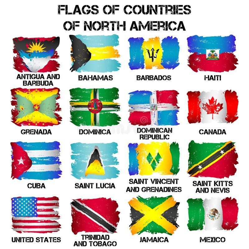 Drapeaux des pays de l'Amérique du Nord illustration libre de droits