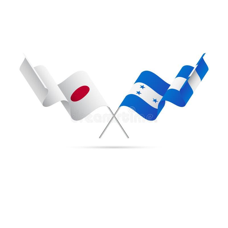 Drapeaux du Japon et du Honduras Illustration de vecteur illustration de vecteur
