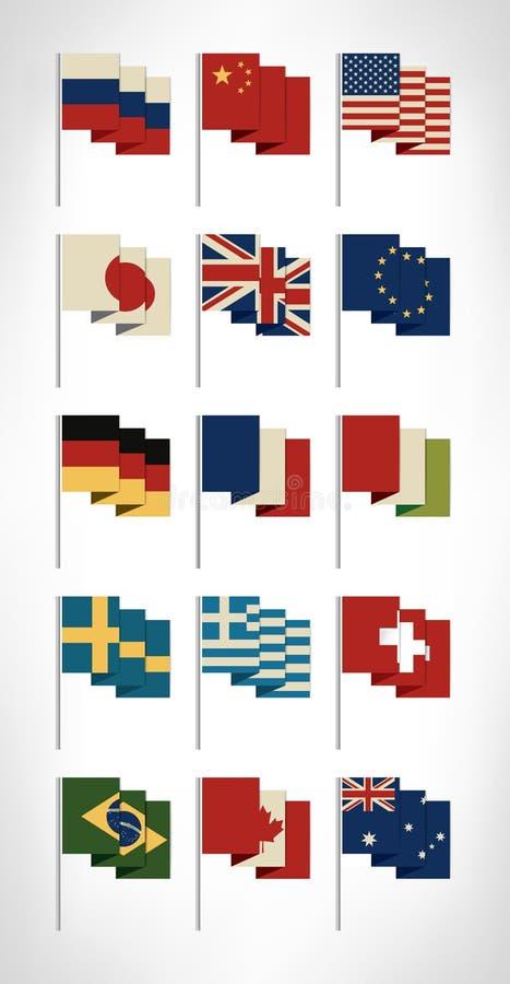 Drapeaux du monde de les plus populaires réglés avec des couleurs de vintage Conception plate illustration libre de droits