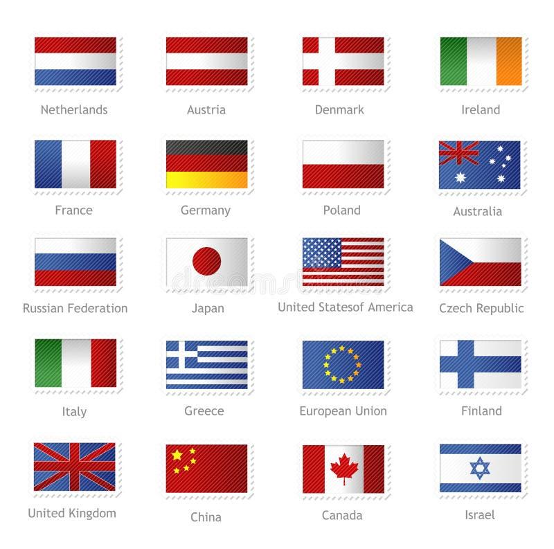 Drapeaux du monde en tant que timbres illustration de vecteur