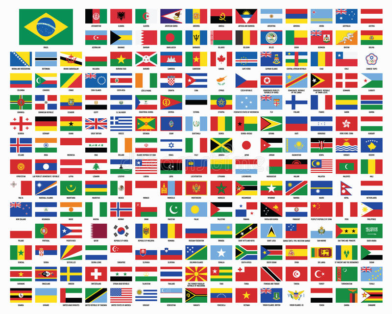 Drapeaux du monde Indicateurs du monde illustration libre de droits
