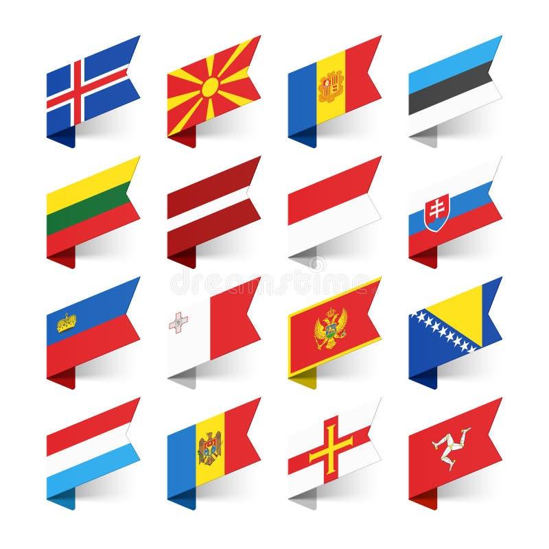 Drapeaux du monde, l'Europe illustration de vecteur