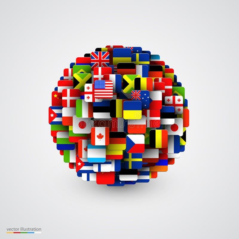 Drapeaux du monde sous la forme de sphère illustration stock