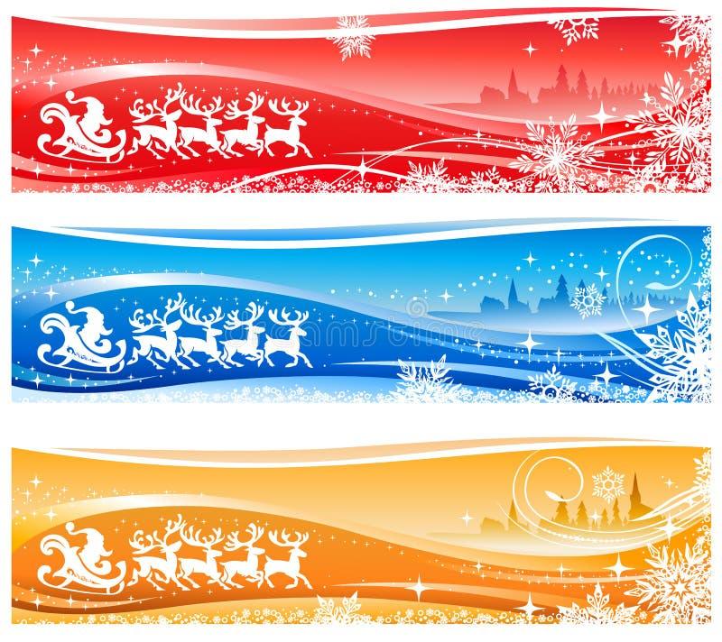 Drapeaux du père noël Sleigh illustration stock