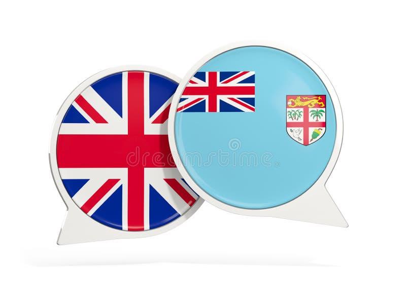 Drapeaux du R-U et du Fiji ? l'int?rieur des bulles de causerie illustration libre de droits