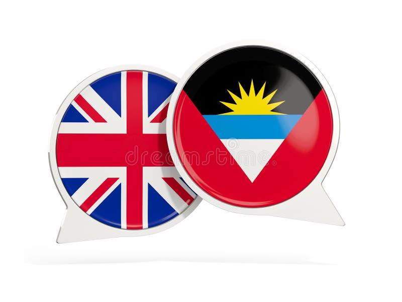 Drapeaux du R-U et l'Antigua et le Barbuda ? l'int?rieur des bulles de causerie illustration libre de droits