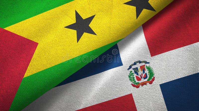 Drapeaux du Sao-Tomé-et-Principe et de la République Dominicaine deux illustration de vecteur
