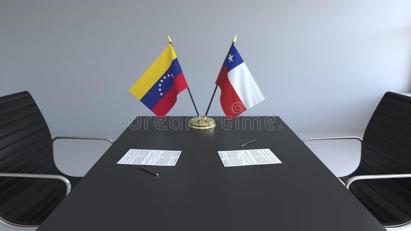 Drapeaux du Venezuela et du Chili et papiers sur la table Négociations et signature d'un accord international 3D conceptuel illustration libre de droits