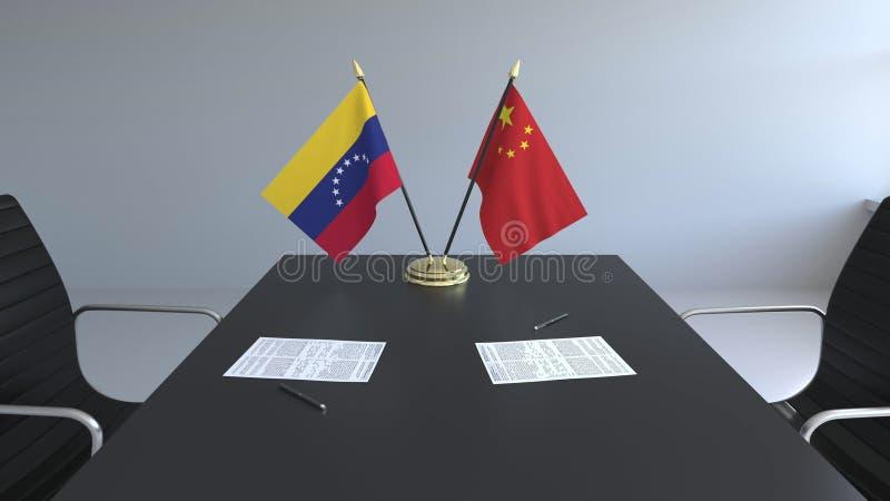 Drapeaux du Venezuela et de la Chine et papiers sur la table Négociations et signature d'un accord international 3D conceptuel illustration stock