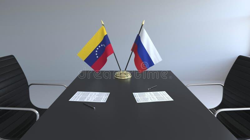 Drapeaux du Venezuela et de la Russie et papiers sur la table Négociations et signature d'un accord international Conceptuel illustration stock