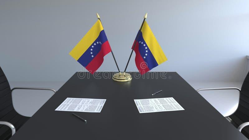 Drapeaux du Venezuela et des papiers sur la table Négociations et signature d'un accord Rendu 3d conceptuel illustration de vecteur