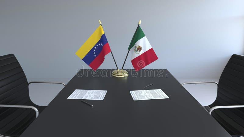 Drapeaux du Venezuela et du Mexique et papiers sur la table Négociations et signature d'un accord international Conceptuel illustration de vecteur