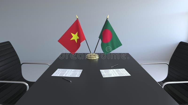 Drapeaux du Vietnam et de Bagladesh et papiers sur la table Négociations et signature d'un accord international Conceptuel illustration de vecteur