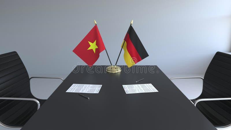Drapeaux du Vietnam et de l'Allemagne et papiers sur la table Négociations et signature d'un accord international 3D conceptuel illustration de vecteur