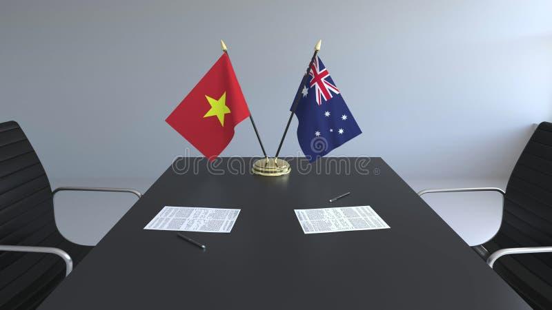 Drapeaux du Vietnam et de l'Australie et papiers sur la table Négociations et signature d'un accord international Conceptuel illustration stock