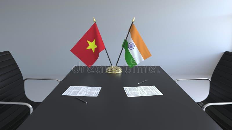 Drapeaux du Vietnam et de l'Inde et papiers sur la table Négociations et signature d'un accord international 3D conceptuel illustration libre de droits