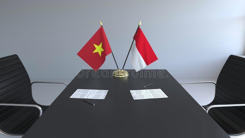 Drapeaux du Vietnam et de l'Indonésie et papiers sur la table Négociations et signature d'un accord international Conceptuel illustration de vecteur