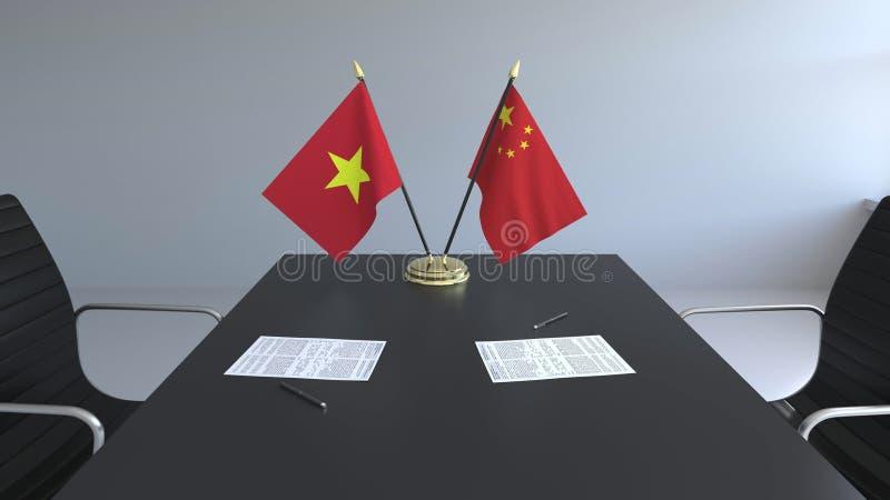 Drapeaux du Vietnam et de la Chine et papiers sur la table Négociations et signature d'un accord international 3D conceptuel illustration stock