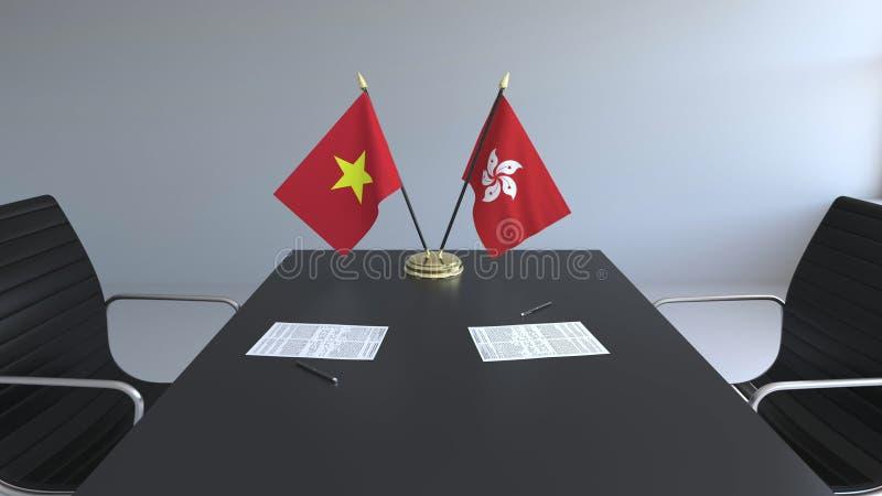 Drapeaux du Vietnam et Hong Kong et papiers sur la table Négociations et signature d'un accord international Conceptuel illustration de vecteur