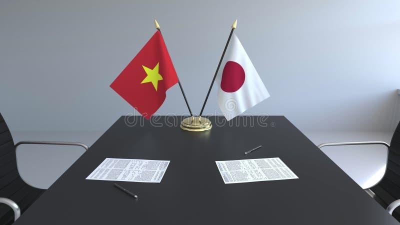Drapeaux du Vietnam et du Japon et papiers sur la table Négociations et signature d'un accord international 3D conceptuel illustration de vecteur
