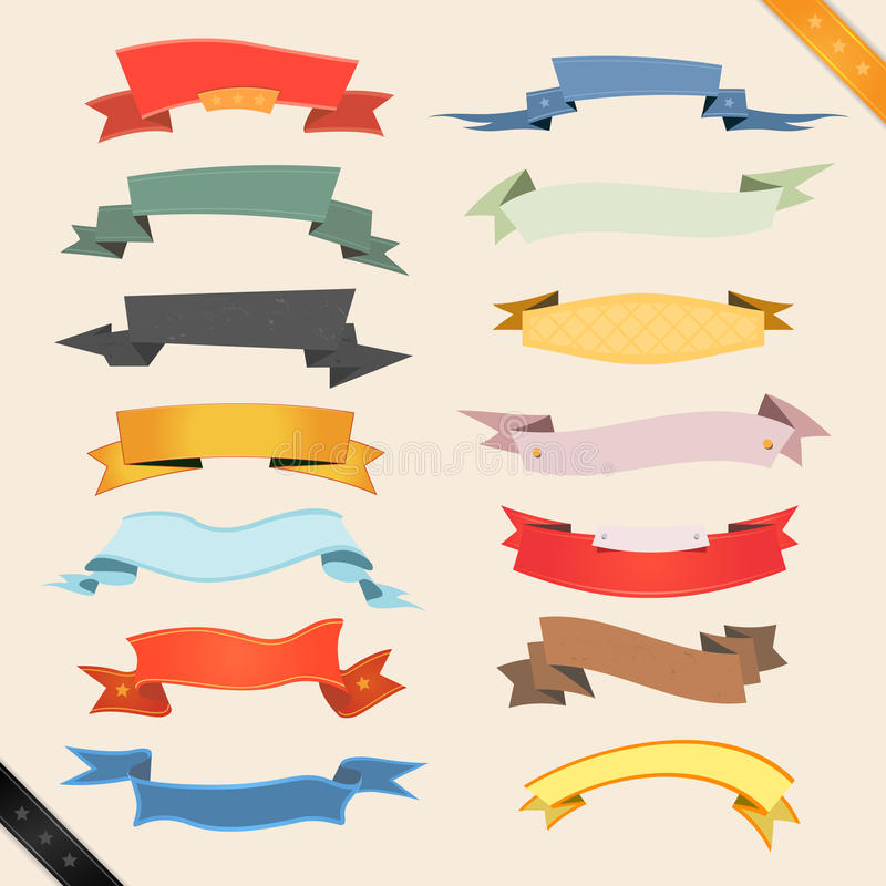 Drapeaux et bandes de dessin animé illustration stock