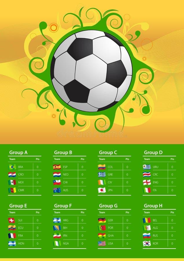 Drapeaux et boule du championnat 2014 du football illustration stock