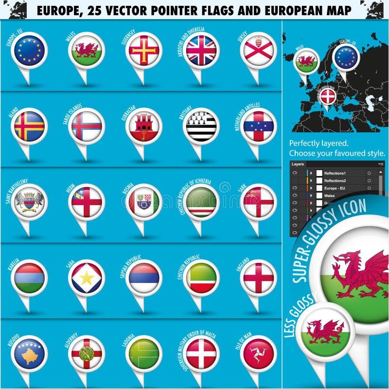Drapeaux et carte ronds Set3 d'indicateur d'icônes européennes. illustration de vecteur