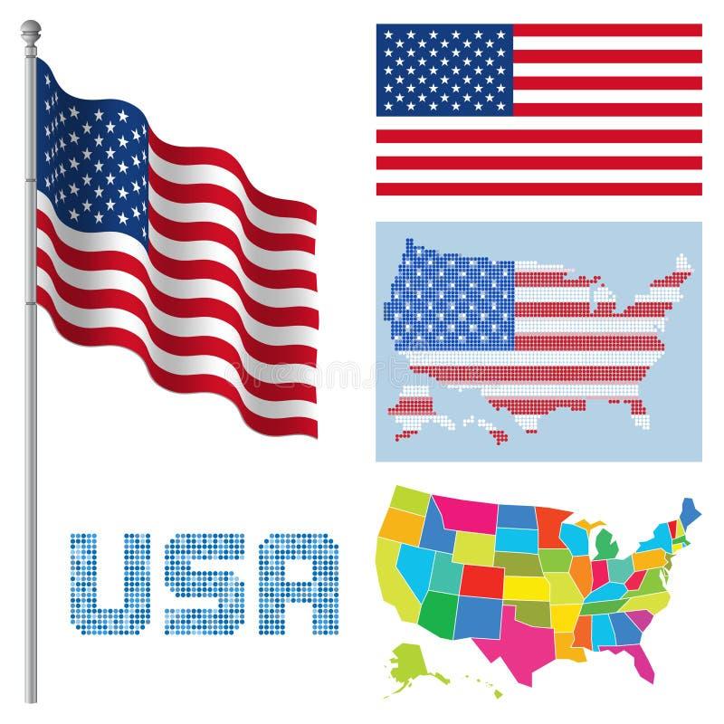 Drapeaux et cartes Des Etats-Unis illustration stock