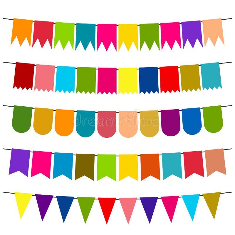 Drapeaux et guirlandes colorés d'étamine pour la décoration illustration de vecteur