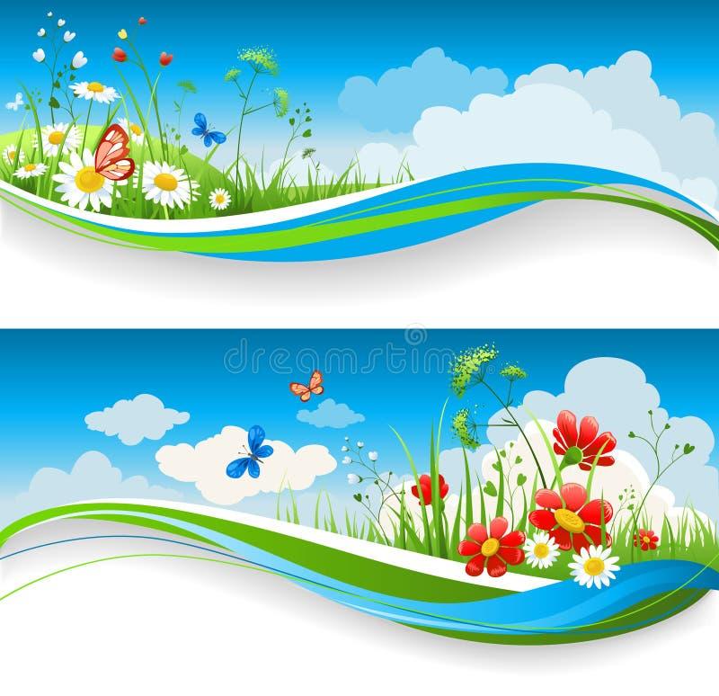 Drapeaux floraux d'été illustration de vecteur