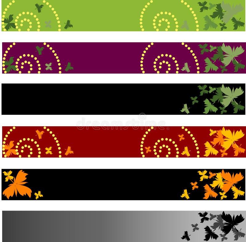 Drapeaux floraux de couleur illustration libre de droits