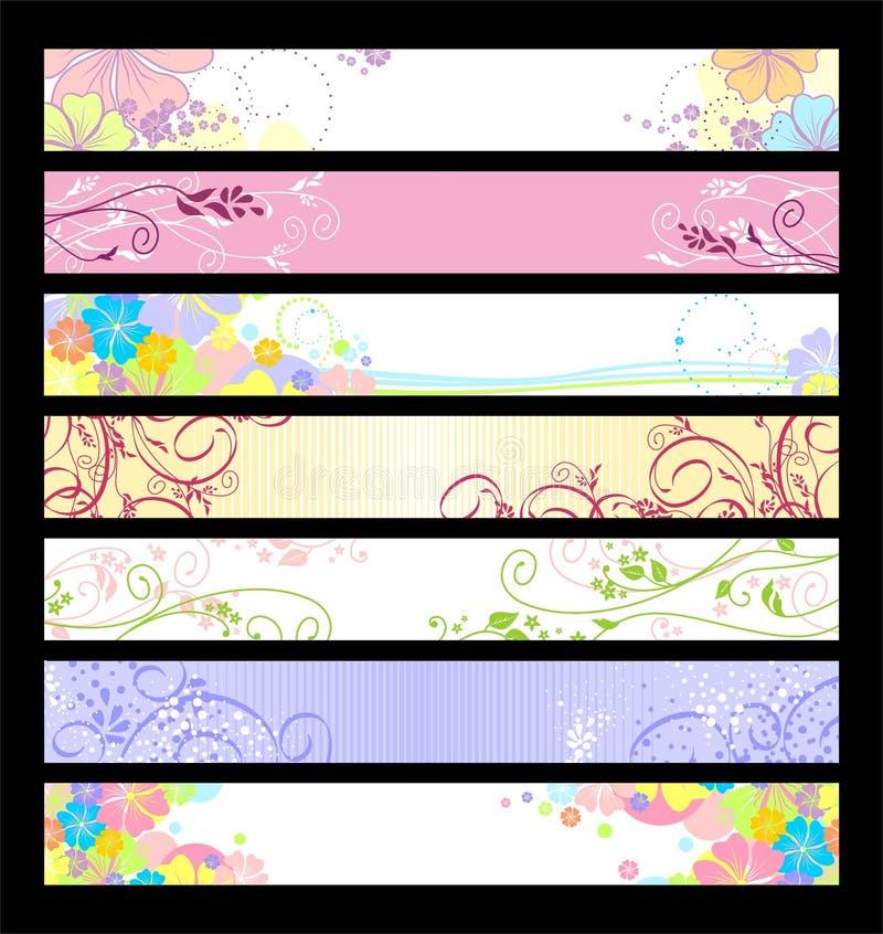 Drapeaux floraux de site Web illustration libre de droits