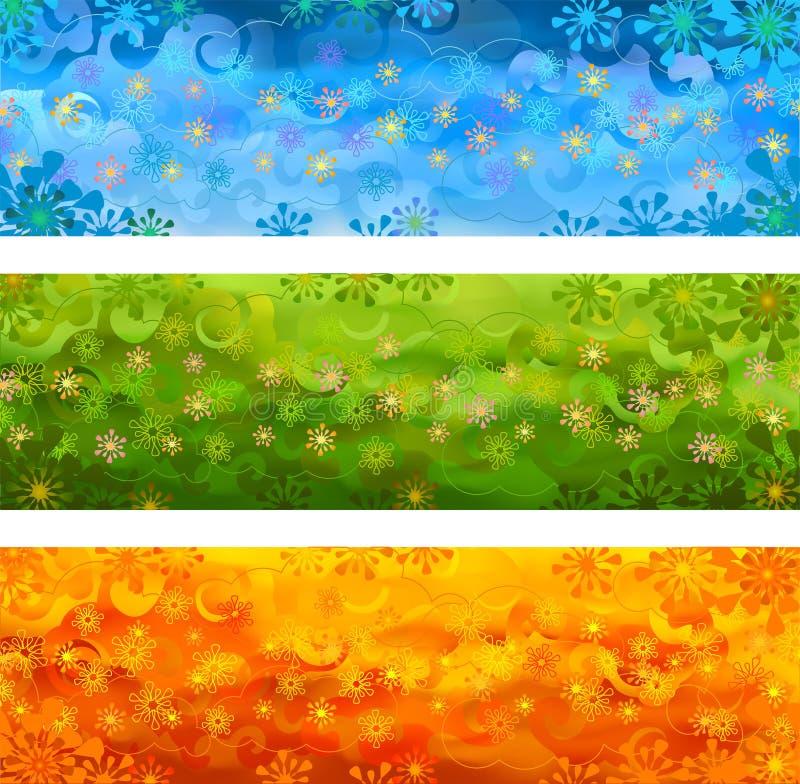 Drapeaux floraux de vecteur illustration de vecteur