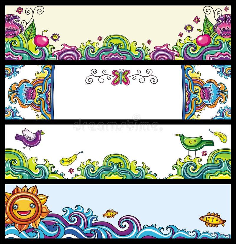 Drapeaux floraux (séries florales) illustration de vecteur