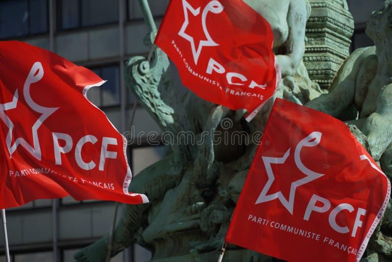 Drapeaux français de parti communiste photos stock