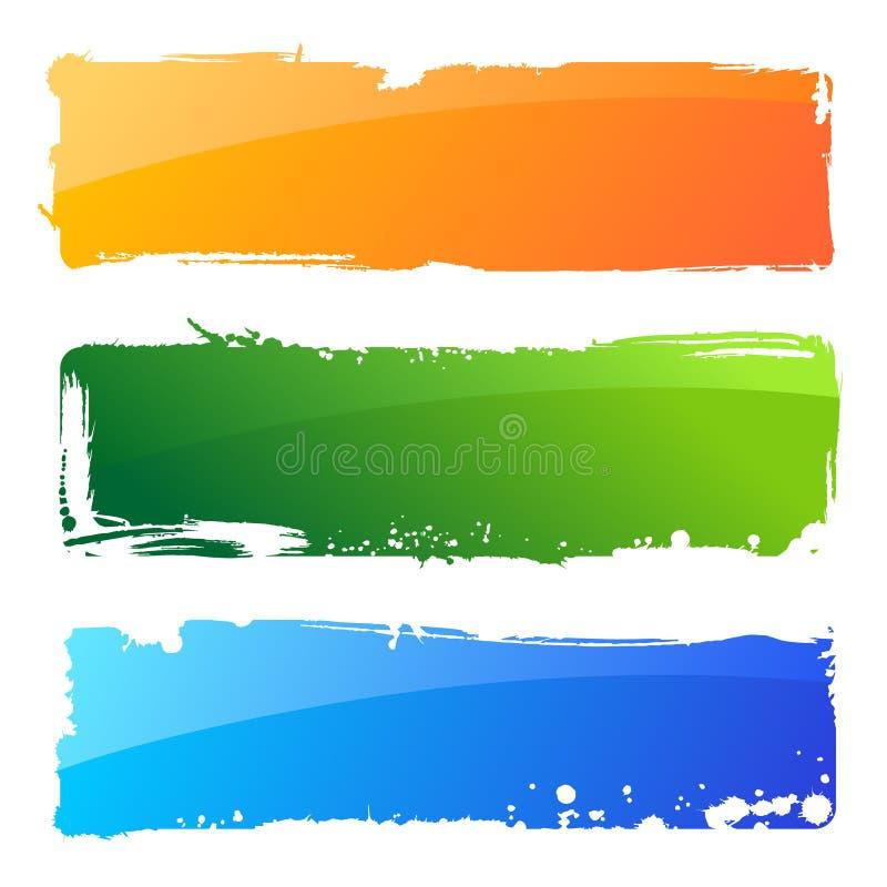 Drapeaux grunges de couleur. Fond abstrait de balai illustration stock