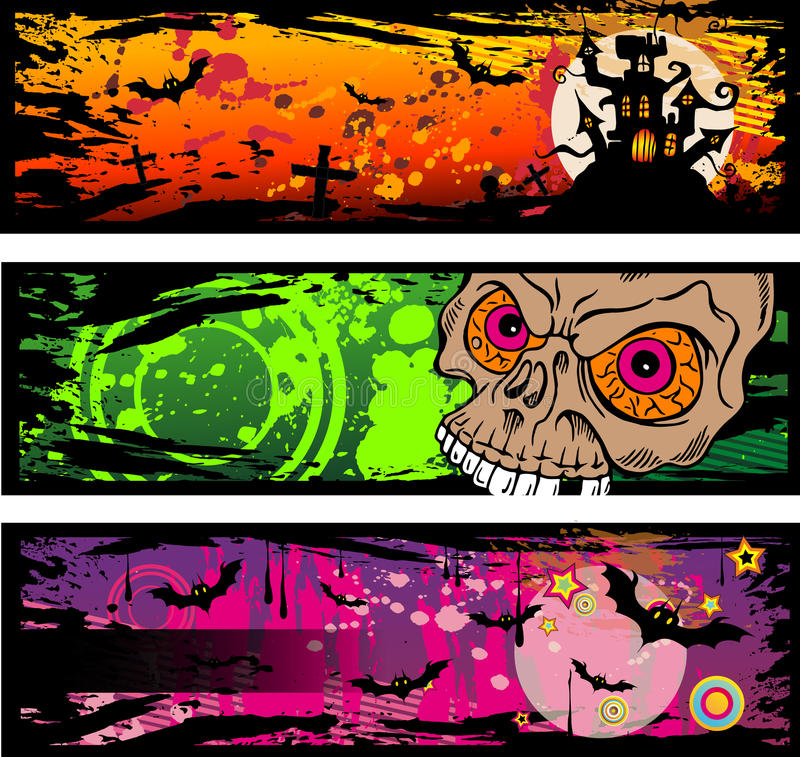 Drapeaux grunges de type de Veille de la toussaint illustration libre de droits