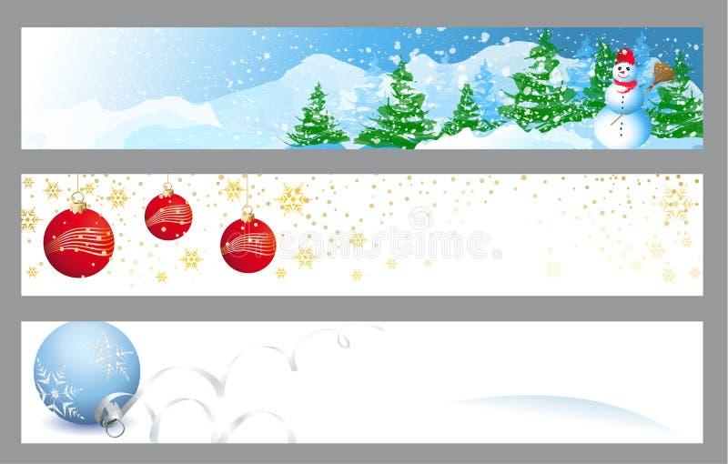 Drapeaux horizontaux de Noël illustration libre de droits