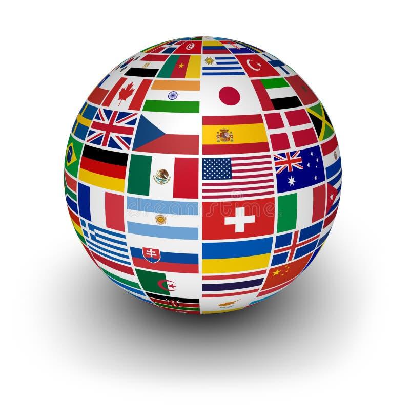 Drapeaux internationaux du monde de globe illustration libre de droits