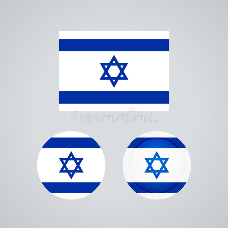Drapeaux israéliens de trio, illustration illustration de vecteur