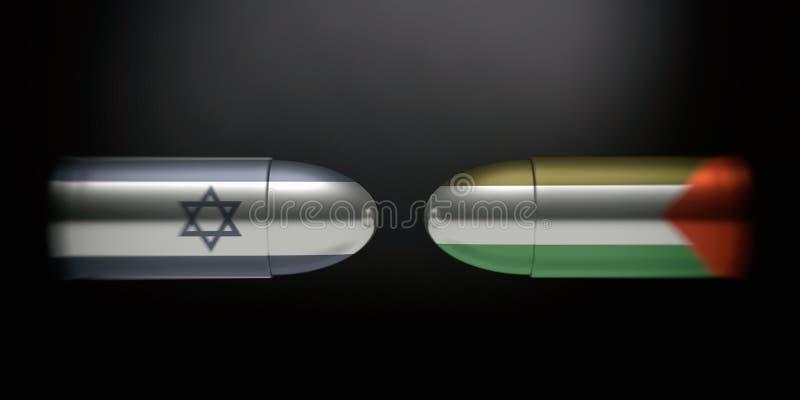 Drapeaux israéliens et palestiniens sur des balles, fond noir illustration 3D illustration de vecteur