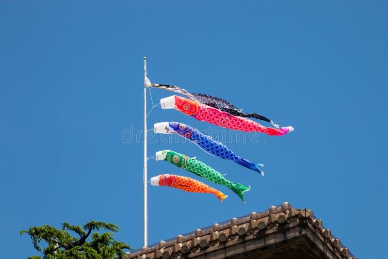 Drapeaux japonais de koinobori pour le jour du ` s d'enfants sur le backgrou de ciel bleu images libres de droits